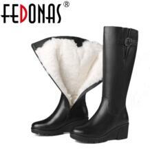 /женские ботинки наивысшего качества из натуральной кожи на высоком каблуке, теплые зимние ботинки martin из толстой шерсти, женская обувь на танкетке FEDONAS 32837839238
