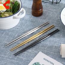 1 пара китайские палочки для еды 304 Нержавеющаясталь золото Titanize черный металл Креативный дизайн палками суши посуда CHANOVEL 32850360296