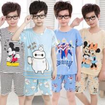 Летние Пижамные комплекты для мальчиков детская одежда для сна с короткими рукавами и рисунком трикотажная пижама для подростков, одежда для сна для девочек PUCKISH BABY 32859193721