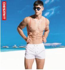 2018 бренд мужские пляжные шорты быстросохнущие 2 точки вилка Твердые свободные плавки Досуг Отдых Бег шорты desmiit 32862393881