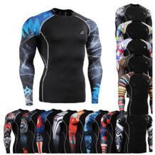 Для мужчин облегающие футболки сжатия Велоспорт тренажерный зал Йога Crossfit ММА Бодибилдинг Бег Сёрфинг Топ Фитнес с длинным рукавом Костюмы No name 32523354333