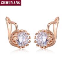 Высокое качество серьга с короной розовое золото цвет ювелирных изделий Сделано из натуральных австрийских кристаллов ZYE610 ZYE611 ZHOUYANG 1520654918