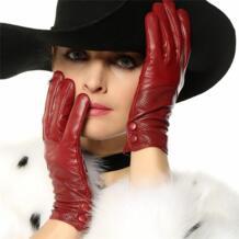 2019 модное специальное предложение, натуральные женские кожаные перчатки, однотонные пуговицы на запястье, женские перчатки для вождения из овечьей кожи, Бесплатная доставка, L090NN No name 2051732926