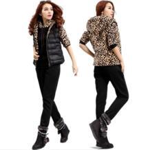 New2015autumn зима три шт набор Повседневное Спортивная лоскутное леопарда свитер с капюшоном + жилет + Штаны костюмы Большие размеры XXXXXL No name 32578097318