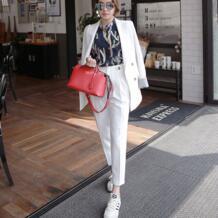 Два комплекта из 2 шт., двубортный однотонный Блейзер, пиджак и брюки на молнии, OL Костюм, женский рукав, хит цвета, деловые брюки, костюмы, наряды WRZS 32848840908