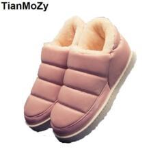 Женские ботинки, теплая зимняя обувь, ботильоны, кожаные зимние ботинки, женская обувь на плоской подошве, домашние непромокаемые ботинки без шнуровки, модная обувь на меху для улицы TianMoZy 32733434205