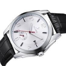 Мужские классические механические наручные часы Авто Дата кожаный ремешок автоматические Аналоговые часы FLENT 32472794346