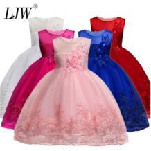 Детские кружевные платья высокого качества с жемчужинами и цветами вечерние ная одежда, платье принцессы без рукавов с большим бантом на свадьбу для маленьких девочек mitun semi 32255592543