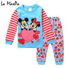 Новинка 2018 года, весенне-осенняя одежда для сна с Минни Маус для маленьких девочек, пижамный комплект, одежда для сна Домашняя одежда, костюм для детей от 1 до 8 лет La MaxPa 32855811953