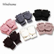 Windreama женские зимние универсальные полупальчиковые теплые перчатки коралловый флис флип полупальчиковая клавиатура No name 32274343078