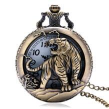 Рождественский подарок БРОНЗОВЫЙ ТИГР Hollow кварц карманные часы Цепочки и ожерелья подвеска Wo Для мужчин s Для мужчин подарки Reloj De Bolsillo Dropshipping P903 YISUYA 32340181238