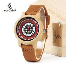 часы-браслет из J19 Бамбук Деревянные часы Для женщин кожаный ремешок, часы с японским механизмом Miyota BOBO BIRD 32745900349