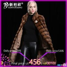 Женская норковая шуба зимняя натуральная норковая меховая одежда 2018 Толстая длинная теплая меховая куртка женская настраиваемая XINYUXIANG 32779413061