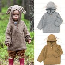 Симпатичные новорожденного для маленьких девочек Кролик уха с капюшоном вязаный свитер предупредить зима Пуловеры для женщин крючком верхняя одежда 0-24 м No name 32847055838