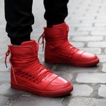 Новинка; мужская повседневная обувь; Высококачественная искусственная кожа; мужская обувь с высоким берцем; модная дышащая обувь в стиле хип-хоп на шнуровке; Мужская обувь; цвет красный, черный, белый Mengyusha 32663153741