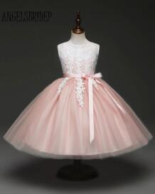 розовый платья для девочек на свадьбу кружево Аппликация по колено связь платье наряд для выпускного vestidos de comunion ANGELSBRIDEP 32881074354