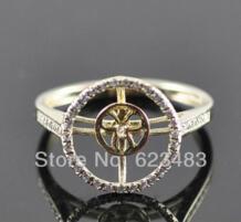 Кольца 10 мм круглая огранка Solid 14 К желтое золото природных алмазов полу крепление установка Свадебные No name 1014988072