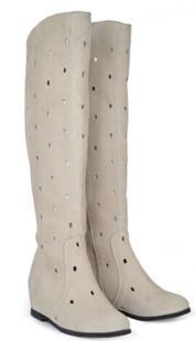 Привлекательные летние женские сапоги из натуральной кожи с закрытым носком на плоской подошве с внутренним каблуком женские дышащие ботинки с прорезями до колена размеры 34–40 SXQ0430 The Strategy Of Loong 32474210492