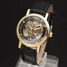 Новый Победитель полые механические ручной Ветер Для мужчин Для женщин Часы классический Вырезка Скелет золото Циферблат Пояса из натуральной кожи ремешок наручные часы T-winner 32621006510