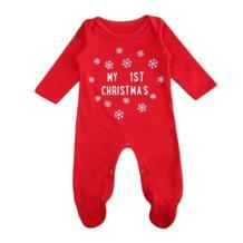 Красный Рождество одежда для малышей для девочек 2017 письма одежда с длинным рукавом Повседневное хлопок Ползунки для малышек Модные комбинезон 0-18 м No name 32835150942