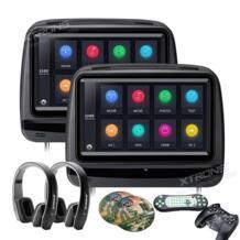 2шт 9 дюймов монитор подголовник автомобиля dvd-плеер 1080 P видео HD цифровой сенсорный экран кожаный чехол/HDMI USB SD + IR наушники XTRONS 32741953282