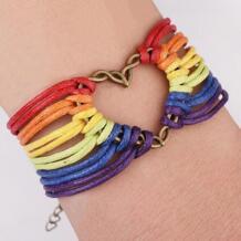 Ручной работы браслет из нитей нетрадиционной Кожаные браслеты ювелирные изделия Радуга дружбы равных ретро браслет LGBT для Для мужчин Для женщин EAMIOR 32783462562