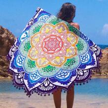 Новое круглое пляжное полотенце индийская накидка для пляжа полотенце-мат для пляжа плед, коврик для йоги летняя буква саронг плащ купальный костюм Shu Embroidery 32740342483