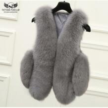 100% натуральный Лисий мех жилет натуральный цельный лисий мех жилет куртка жилет женский обычный стандартный дизайн куртки пальто плюс размер 4XL Tatyana furclub 32742782216