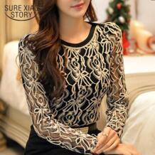Новая женская шифоновая блузка с длинным рукавом и кружевом больших размеров, Элегантная Модная Повседневная рубашка, Топ 65A5 SURE XIAO STORY 1829927798