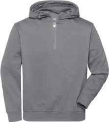 02.0839 James & Nicholson | JN 839 Organski delovni pulover s kratko zadrgo in kapuco