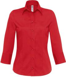 01.0520 B&C | Milano /women Poplin elastična bluza z dolgimi rokavi