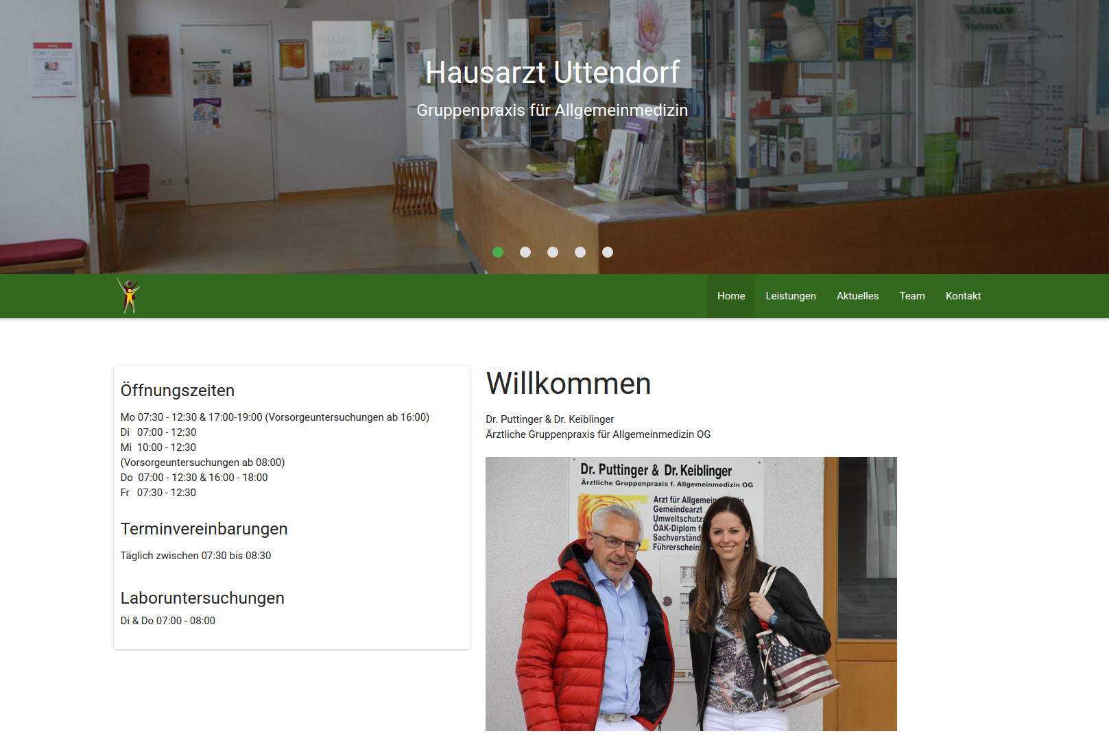Screenshot der Homepage hausarzt-uttendorf.at