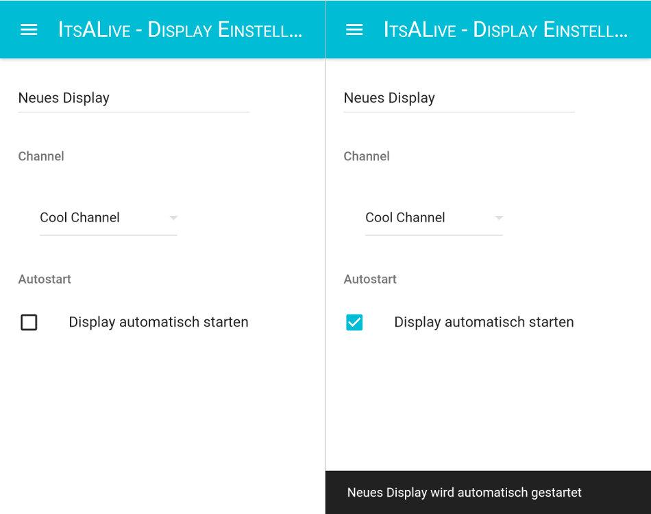 ItsALive Screenshots der Autostart Funktionalität