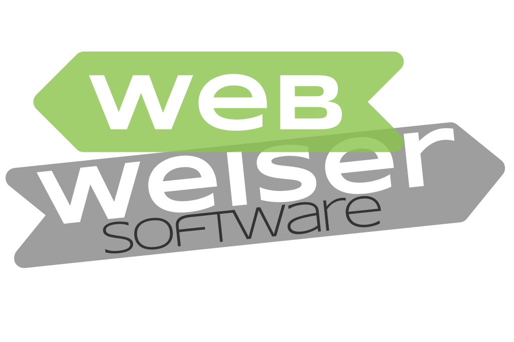 Firmenlogo von Webweiser Software - Ein abstrakter Wegweiser mit der Aufschrift Webweiser Software