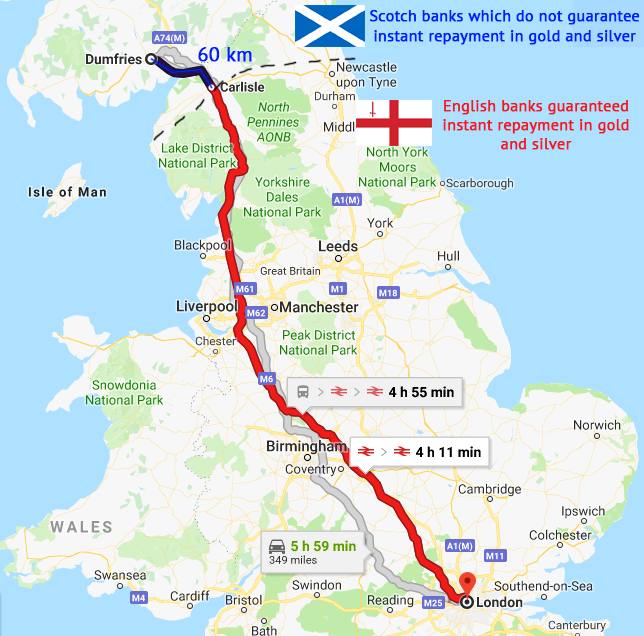 Distance between the banks in the cities of Carlisle and Dumfries (~60 km)
