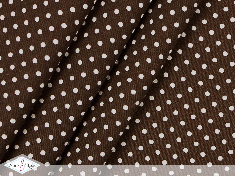 stoff baumwolle p nktchen dunkelbraun wei stoffe und meterware g nstig online. Black Bedroom Furniture Sets. Home Design Ideas