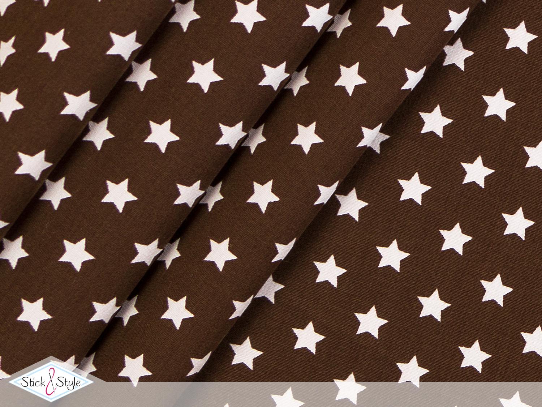 stoff baumwolle kleine sterne dunkelbraun stoffe und meterware g nstig online. Black Bedroom Furniture Sets. Home Design Ideas