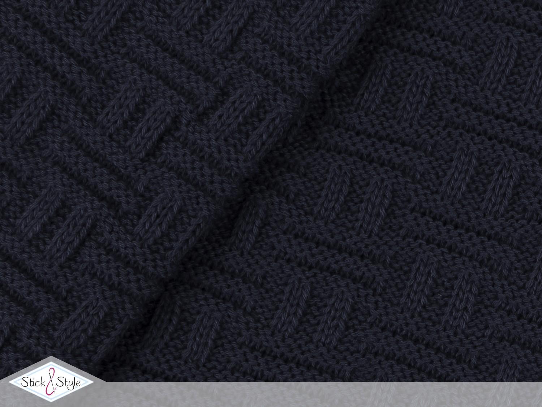 Strickstoff Flechtmuster - dunkelblau | Stoffe und Meterware günstig ...