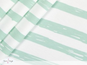 Jersey Painted Stripes - mint Streifen Eigenproduktion Ökotex