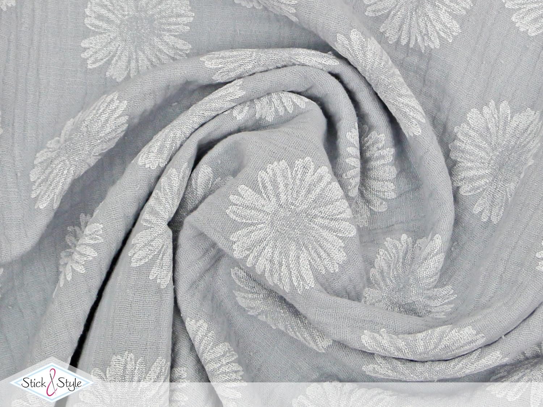 musselin stoff pusteblume hellgrau baumwolle stoffe und meterware g nstig online. Black Bedroom Furniture Sets. Home Design Ideas