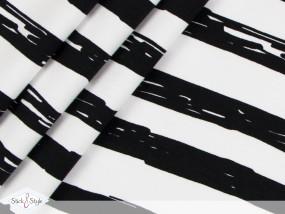 Jersey Painted Stripes - schwarz Streifen Eigenproduktion Ökotex