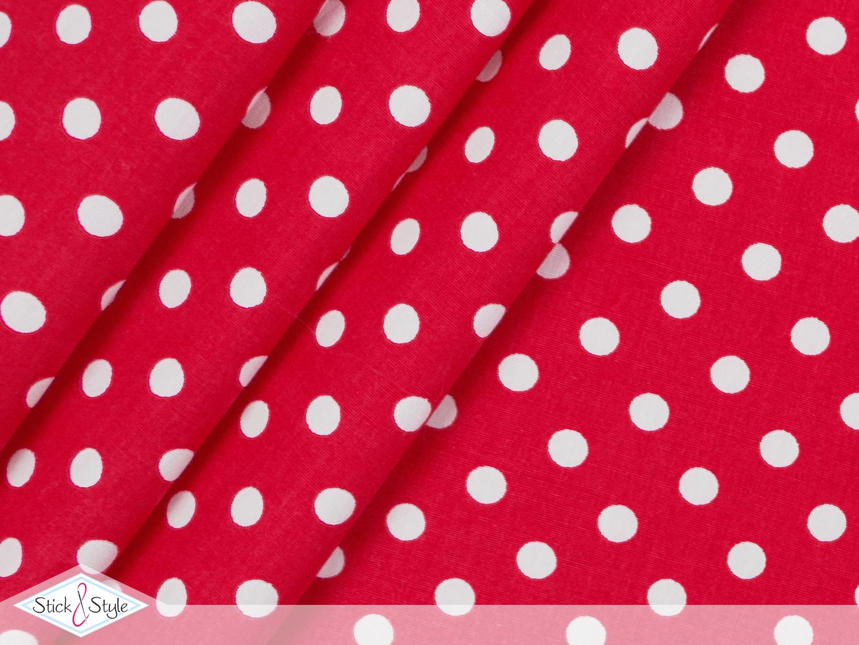 stoff baumwolle punkte rot stoffe und meterware g nstig online. Black Bedroom Furniture Sets. Home Design Ideas