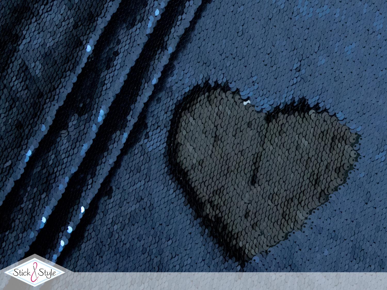 zweifarbiger pailletten stoff dunkelblau schwarz. Black Bedroom Furniture Sets. Home Design Ideas