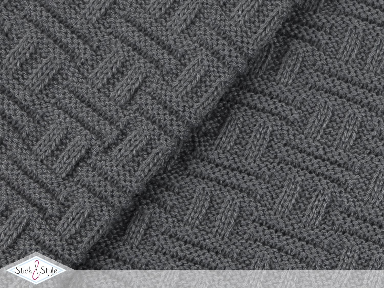 Strickstoff Flechtmuster - grau | Stoffe und Meterware günstig online
