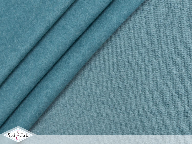 sweat stoff uni petrol meliert kuschelweich stoffe und. Black Bedroom Furniture Sets. Home Design Ideas