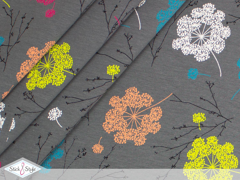 jersey dandelion spring grau stoffe und meterware g nstig online. Black Bedroom Furniture Sets. Home Design Ideas