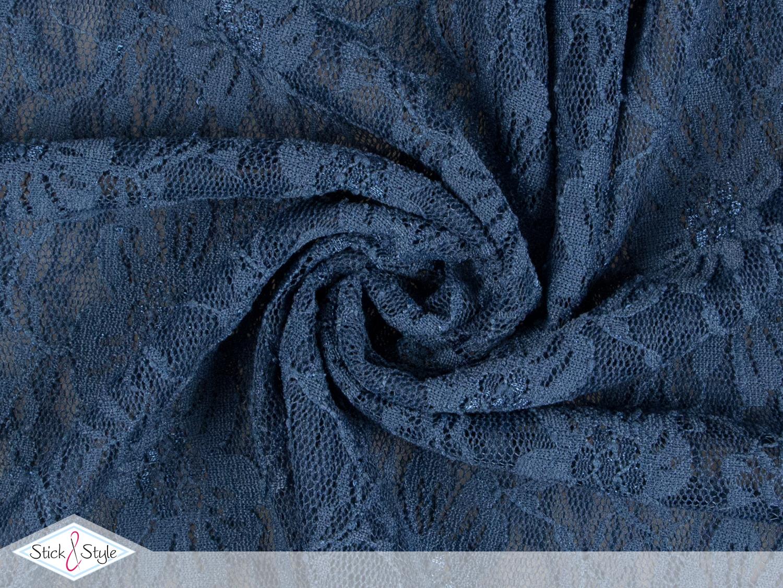 spitzenstoff elastisch blumenmeer graublau stoffe und. Black Bedroom Furniture Sets. Home Design Ideas