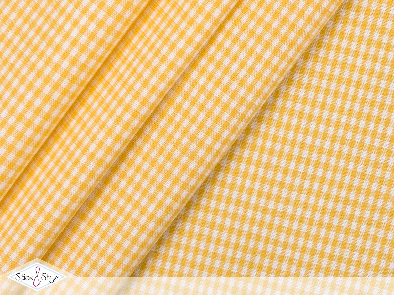 stoff baumwolle kleinkariert gelb stoffe und meterware g nstig online. Black Bedroom Furniture Sets. Home Design Ideas