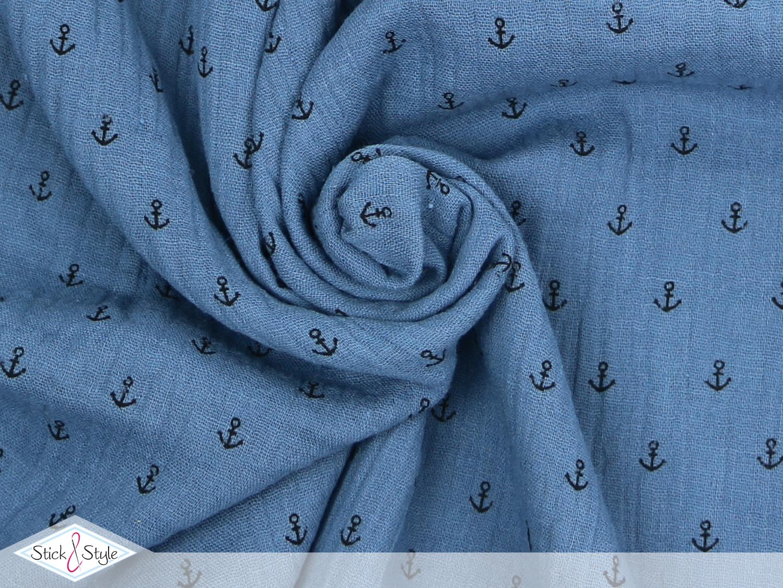 musselin stoff anker graublau baumwolle stoffe und meterware g nstig online. Black Bedroom Furniture Sets. Home Design Ideas