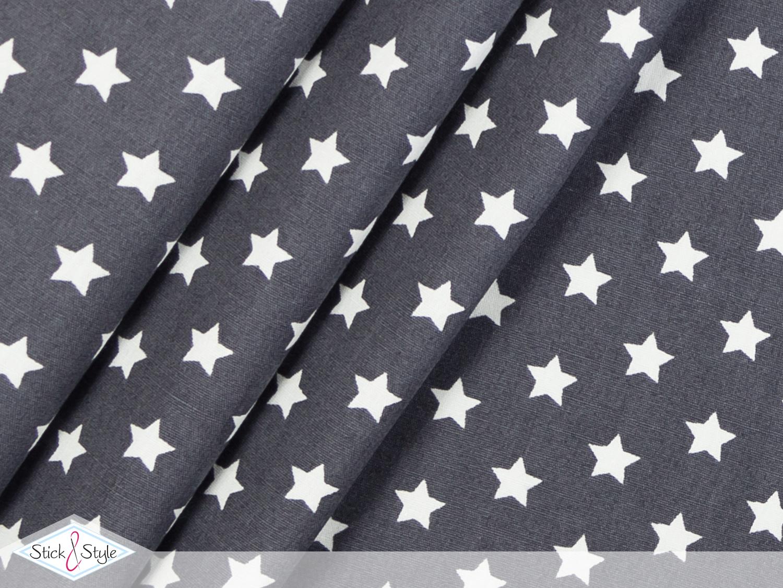 stoff baumwolle kleine sterne dunkelgrau stoffe und meterware g nstig online. Black Bedroom Furniture Sets. Home Design Ideas